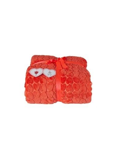 Dolce Bonita Çift Kişilik Degrade Vizon Battaniye 220X240 Kalp Kırmızı
